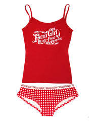 Farm Girl Ladies Lounge Boyshort Set