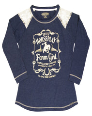 Farm Girl Ladies Loves Horseplay Long Sleeve Slub Tee with Lace