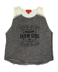 Farm Girl Slub Tank with Lace