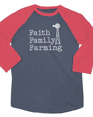 Farm Girl Faith Family Farming Boyfriend Raglan Tee