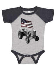 Newborn/Infant Farm Boy Tractor Flag Creeper