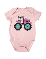 Newborn Farm Girl Tractor Creeper
