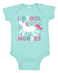 Newborn/Infant Farm Girl Drool Over Horses Creeper