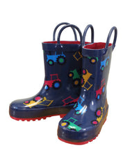 Infant/Toddler Farm Boy Tractor Print Rain Boots