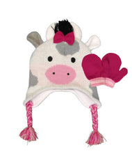 Toddler/Girls 4-6X Cow Hat with Mittens