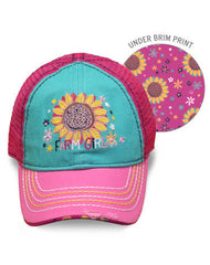 Infant/Toddler/Girls Farm Girl Sunflower Mesh Cap