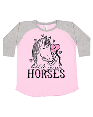 Toddler Farm Girl Hold Horses Long Sleeve Tee