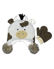 Boys Farm Boy Youth Cow Hat and Mittens Set