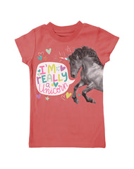 Girls 4-6X Farm Girl I'm Really A Unicorn Tee