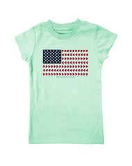 Girls 4-6X Farm Girl Heart Flag Tee