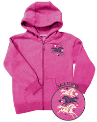 Girls 4-6X Farm Girl Running Horses Zip Hoodie