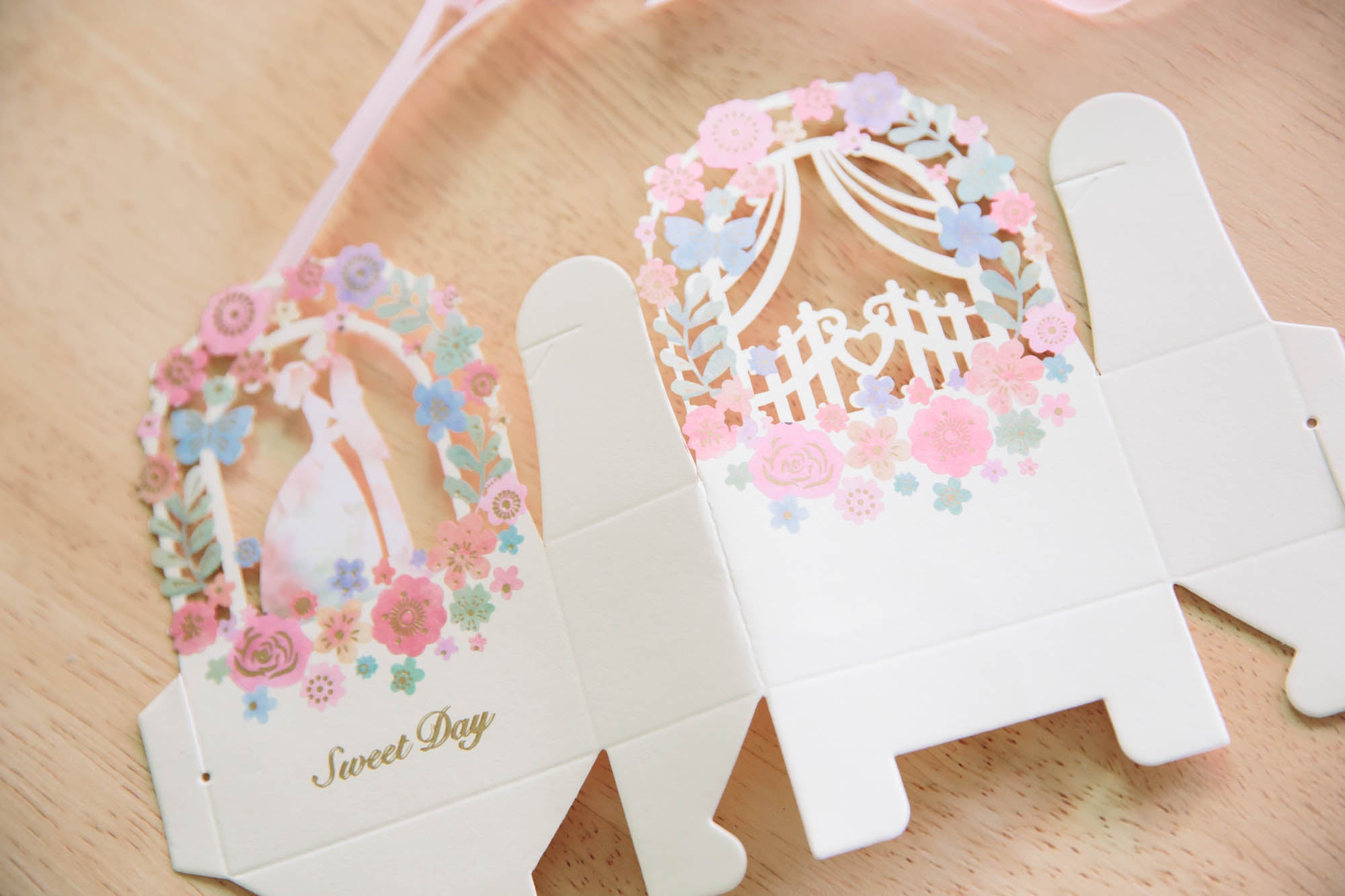 Colourful cream laser cut wedding favours my diy wedding shop floral wedding favours junglespirit Images