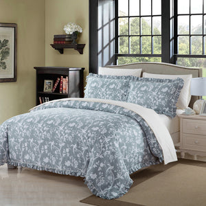 Alita Grey 3-Piece Duvet Cover Set