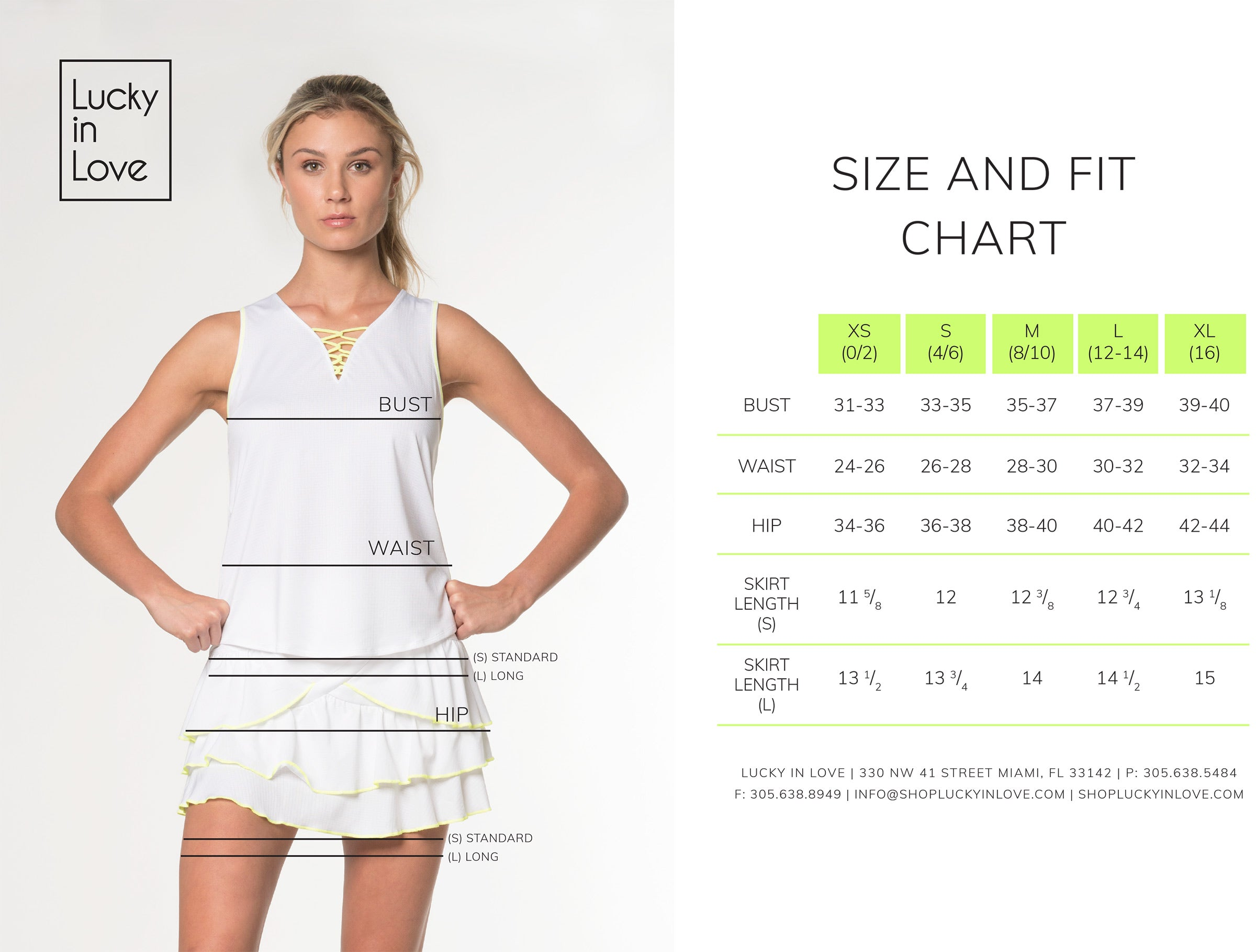 lucky in Love sizing chart