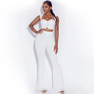 Cryptographic Fashion Outfit Sexy Sleeveless Top and Flare Pants Long Two Piece Set Crop Top Club Party Fall Winter Matching Set