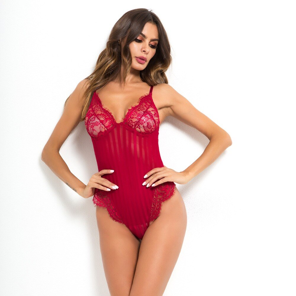 Cryptographic V neck spaghetti strap lace bodysuit women sheer body teddy transparent stripe sexy jumpsuit romper 2020 bodysuits
