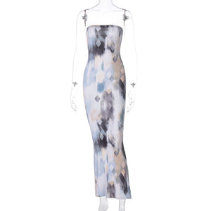 Cryptographic Fashion Print Sexy Strapless Maxi Dresses for Women Sleeveless Backless Summer Club Party Bodycon Dress Clothes