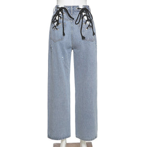 Cryptographic Fashion Tie Lace Up Cut-Out Sexy High Waist Jeans Wide Leg Pants for Women Harajuku Long Loose Jeans Streetwear