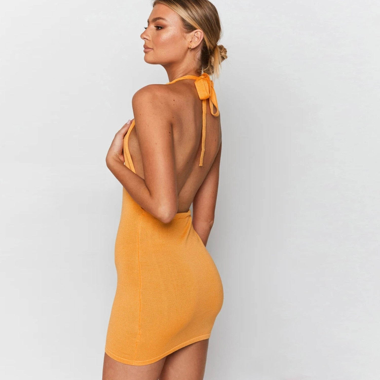 Cryptographic Halter Sexy Backless Mini Dresses Bodycon Skinny Club Party Sleeveless Knitted Dress Fall Streetwear Beach Holiday