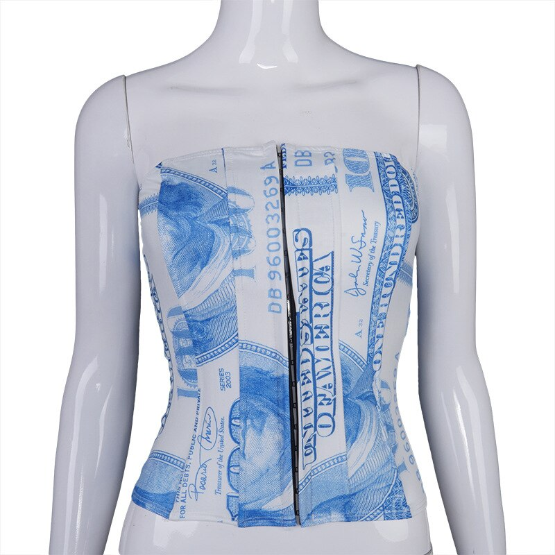 Cryptographic Strapless Off Shoulder Sexy Hooks Dollar Print Bustier Corset Crop Tops Women Cropped Feminino Sleeveless Vest Top