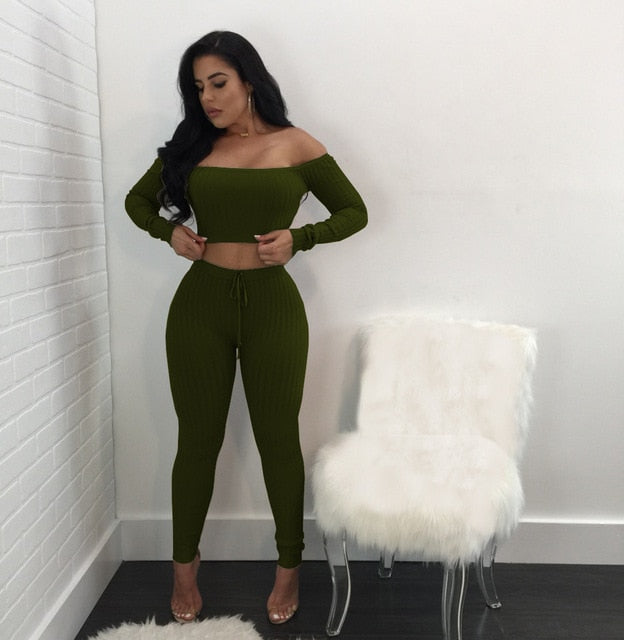 Women long sleeve crop top full pants 2 piece set for female women off shoulder two pieces sets women two piece set S M L XL XXL