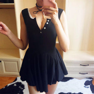 Cute Girls Women Dress  Summer Beach Mini Dress For Women Low-Cut Sexy Dress Knitwear Fashion Pleated Ballet Dress Vestidos