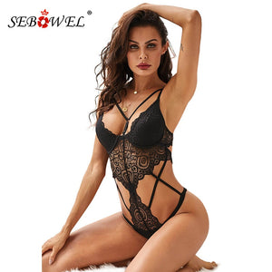 SEBOWEL 2020 Woman's Black Push Up Lace Bodysuit Lingerie Sexy Hollow Out Female Body Tops Clothes Ladies Lingeries with Cups