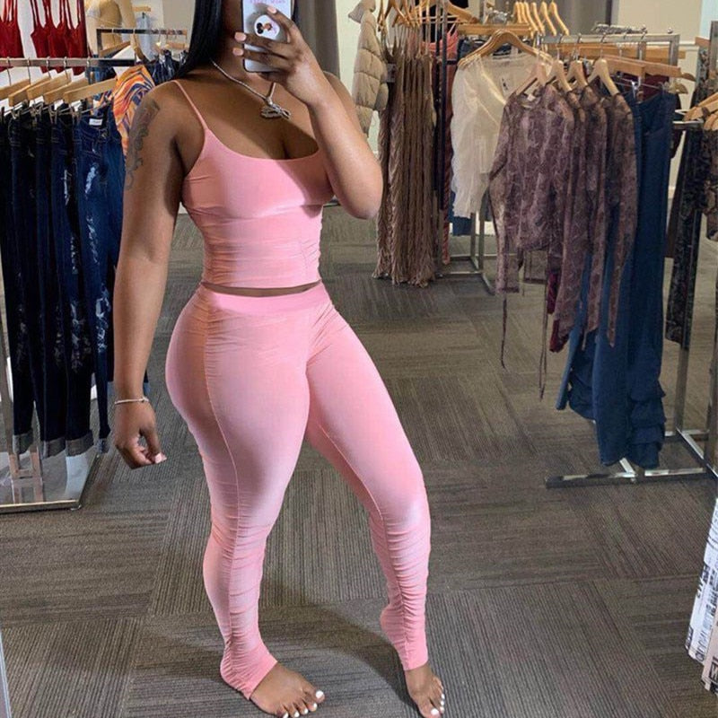 2 Piece Set Women Summer Clother Elastic Crop Top and Stacked Legging Pant Suit Sexy Club Outfits Two Piece Matching Sets