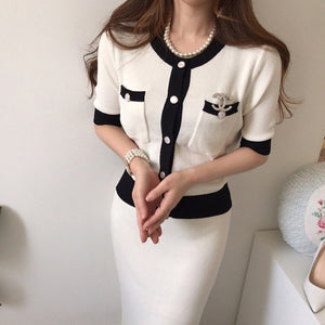 Fashion Korean Elegant Knitted 2 Pieces Sets Hit Color Single Breasted Short Sleeve O-neck Tops + High Waist Long Skirt