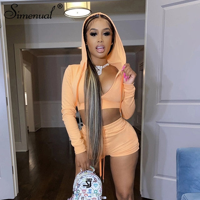 Simenual Casual Sporty Workout Two Piece Sets Women Zipper Long Sleeve Active Wear Tracksuit Hooded Top And Shorts Outfits Slim