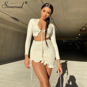 Simenual Ruffles Ruched Drawstring Club Women Matching Sets Long Sleeve Sexy Party Skinny V Neck Top And Skirts 2 Piece Outfits