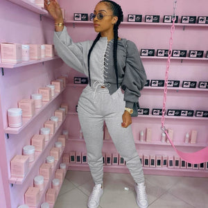 Two Piece Women Set Sport Casual Outfit Fall Clothes for Women Sweatshirt Crop Top Sweatpants Set Women Sweat Suit Set Tracksuit