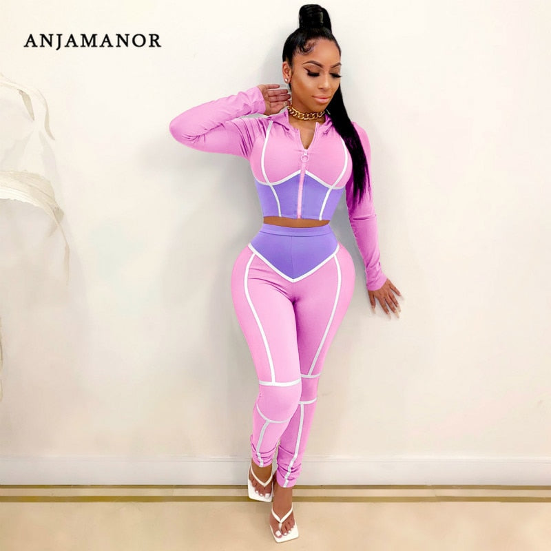 ANJAMANOR Caged Color Block Fashion Sweat Suits Women Tracksuit Zip Up Cropped Hoodie and Pants Two Piece Matching Sets D48-DE42