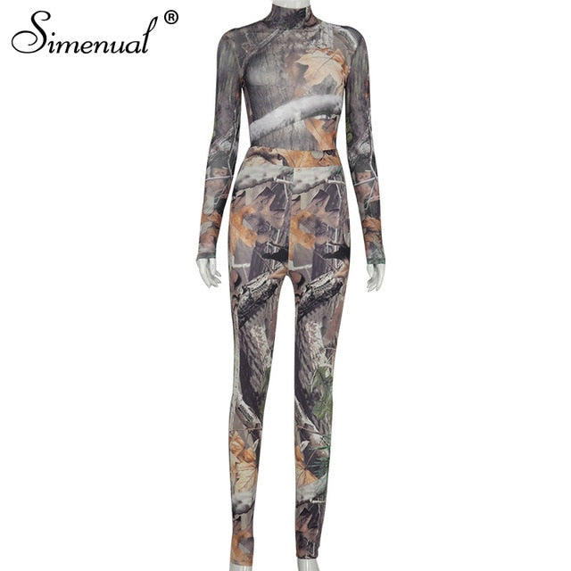 Simenual Mesh Aesthetic Print Sexy Long Sleeve Co-ord Sets Women Bodysuit And Leggings Party Transparent Skinny Two Piece Outfit