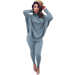Winter Fashion Two Piece Outfits for Women 2 Piece Set Oversize Turtleneck Top and Bodycon Pants Set Lounge Wear Matching Sets