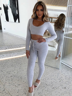 Casual Plush Fluffy Fleece Knitted Sweater 2 Piece Set Women Cozy Sexy O Neck Crop Top Fall Winter Clothes Women Tracksuit