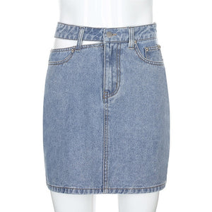 Women's High Waist Denim Party Skirt 2020 Hollow Button Zipper Mini A-line Skirt Ladies Sexy Clothing Female Night Club Wear