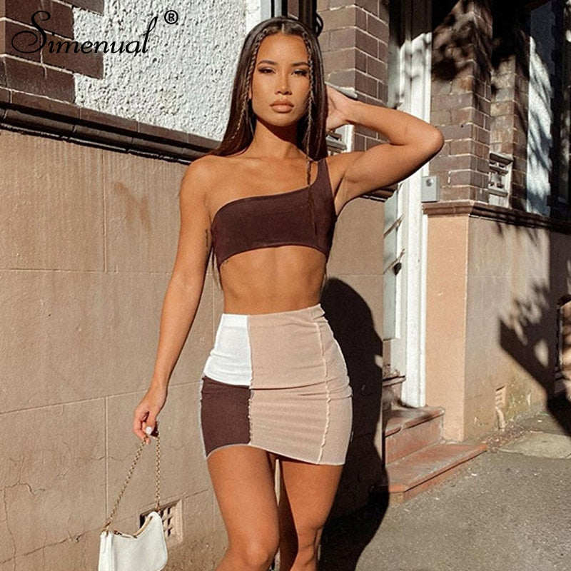Simenual Ribbed Patchwork Two Piece Sets One Shoulder Tank Top And Skirts Women Skinny Vintage Streetwear Co-ord Outfits Club