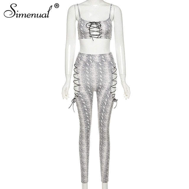 Simenual Serpentine Lace Up Sexy Two Piece Sets Women Strap Camis And Pants Midnight Clubwear Co-ord Set Skinny Wild Hollow Out