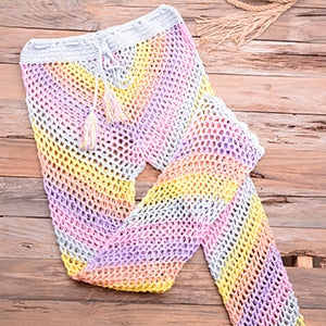 Crochet 2PCS/SET Colorful Beachwear Sexy Women Bra Top+Hollow Out Long Pants Bikini Swimwear Cover Up Set