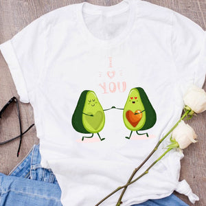 Women Graphic Avocado Cat Printing Cartoon Fruit Clothes Floral Lady Clothing Female Tees Print Tops T Shirt  Womens T-Shirt