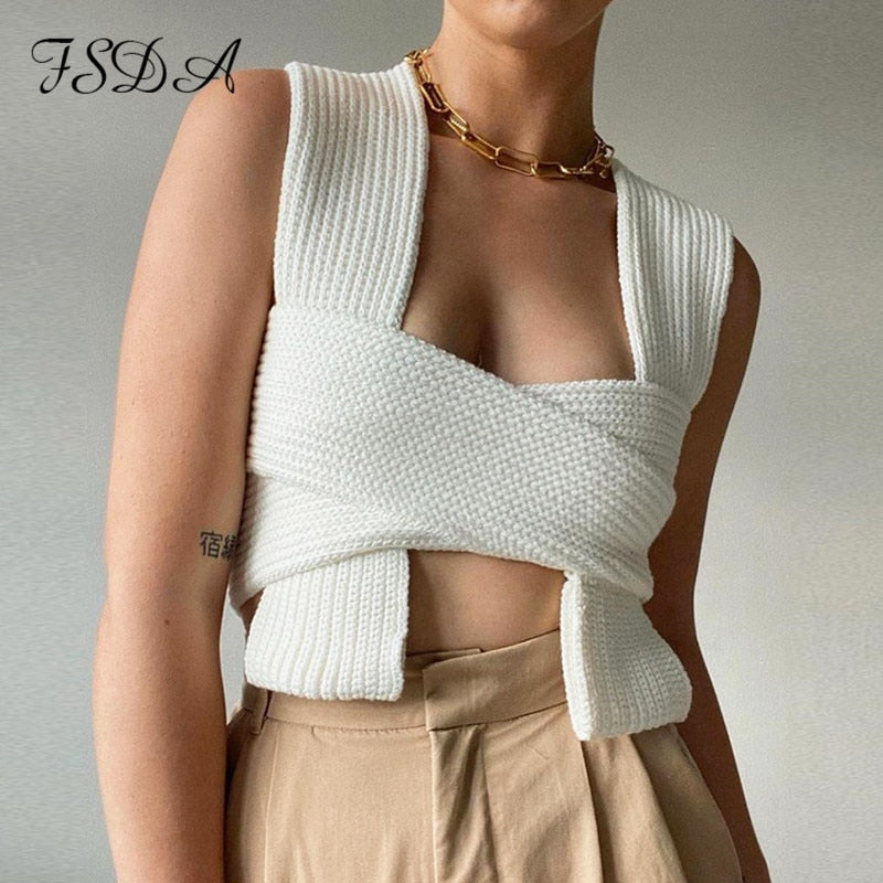 FSDA 2021 Sleeveless Knitted Crop Sweater Sexy Autumn Summer Fashion Vest Black Casual White Jumper Top Female Pullover Y2K