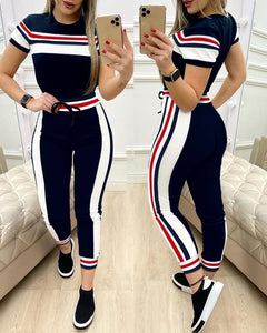 Colorblock Plaid Striped Short Sleeve Tape Top & Drawstring Pants Set Casual Basic Women Two Piece Set