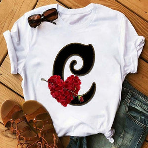 Custom Name Letter Combination Women's High Quality Printing T-shirt Flower Letter Font A B C D E F G Short Sleeve Clothes Femal