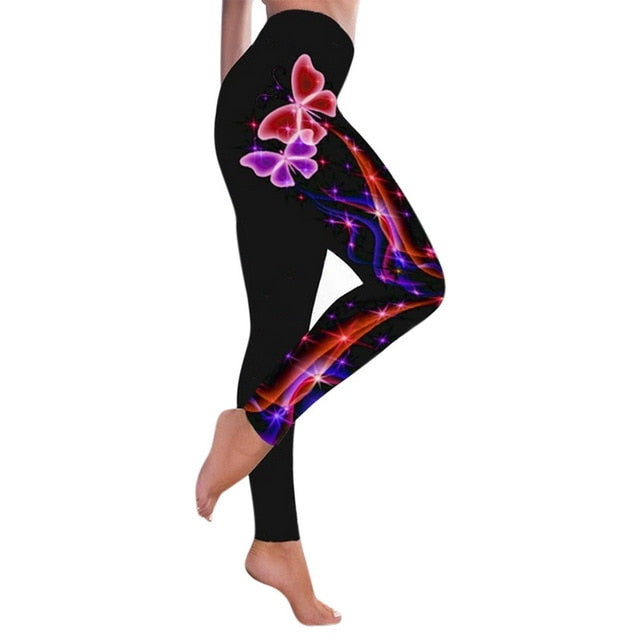 Women Cherry Blossoms Print Gym Leggings Athletic Girls Sport Clothing Workout Femme Mujer Sportwear Fitness High Waist Pants
