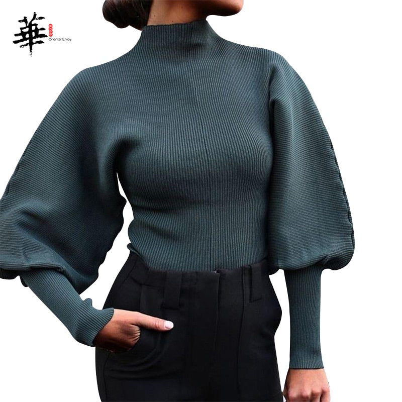 Turtleneck Woman Sweaters Fall Long Sleeve Knitted Sweaters for Women Winter Clothes Women's Crop Top Jumper Cropped Sweater