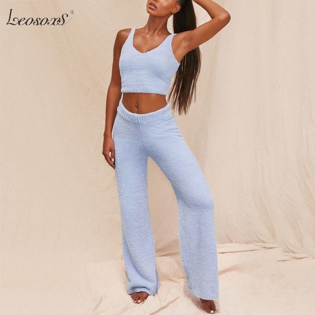 Fur Two Piece Outfits Sexy Backless Crop Tops Women Outfits Matching Set Top And High Waist Pants Party Clubwear