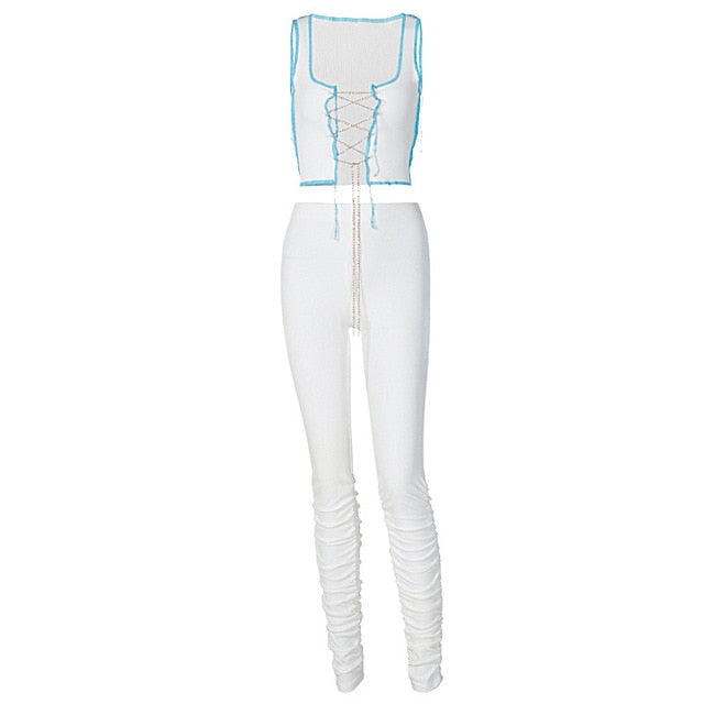 Simenual Ribbed Lace Up Sleeveless Co-ord Sets Tank Top And Stacked Pants Fall 2021 Women Clothing Sexy Club Two Piece Outfits