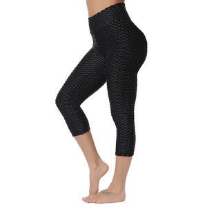 Women Leggings Capris Textured Anti Cellulite Leggins Push Up High Waist Sport Pant Fitness Athletic Cropped Scrunch Butt Tights
