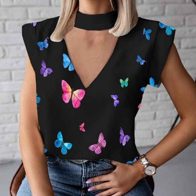 Print Blouse Shirt Women Fashion Womens Tops And Blouses Woman Female Spring Summer Clothe Top Tee Shirts Plus Size Clothing 3XL